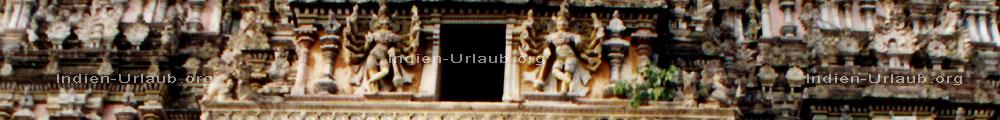 Indische Gottheiten an dem Indischen Tempel Tiruvannamalai am Heiligen Berg Arunachala im indischen Bundesstaat Tamil Nadu - Suedindien.